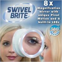 Зеркало с 8-кратным увеличением и подсветкой Swivel Brite